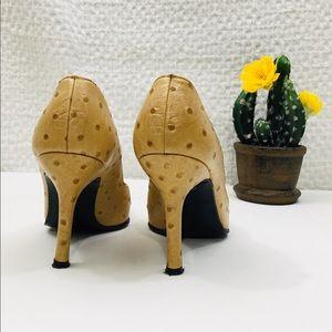 Stuart Weitzman Ostrich Pattern Leather Heels